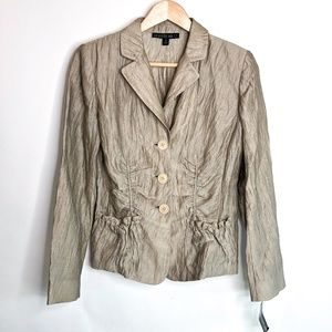 Lafayette 148 Metallic Ruched Fitted Blazer Size 0